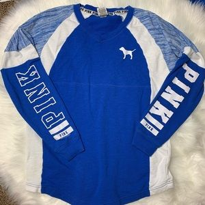 VS PINK Blue & White Long Sleeve Top